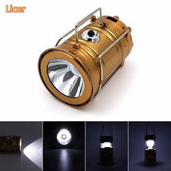 Licer Led Portable Rechargeable Solar Camping Lantern Camping Lamp 6 Leds Hiking Camping Gold