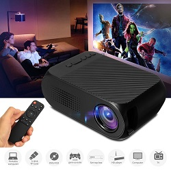 Led Mini Protable Multimedia Projector Home Cinema Wireless Theater Projecting Black