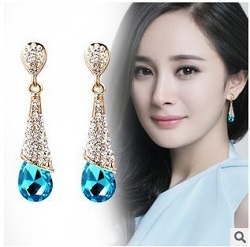 Women Fashion Water Drop Crystal Dangle Earrings Red Bride Wedding Drop Earrings Blue