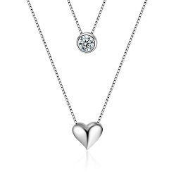 Women Heart-shaped Double-layer Necklace Silver