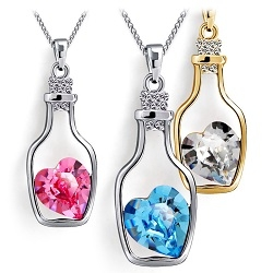 Women's Wish Bottle Crystal Pendant Necklace Heart-shaped Crystal Drifting Bottle Necklace