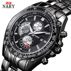 Nary New Style Mens Brand Watch Stainless Steel Strap Calendar Waterproof Men Classic Quartz Watch Black Normal