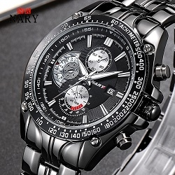 Nary New Style Mens Brand Calendar Waterproof Classic Quartz Watch Black