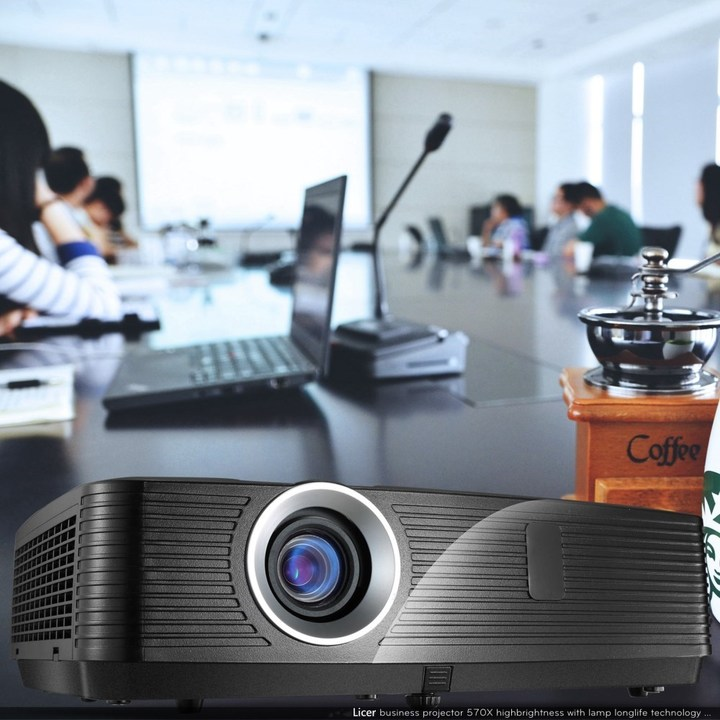 Licer Large Screen Multimedia Business Projector 3LCD 4500 Lumens XGA Use for Office/Classroom Black 42*38*15cm