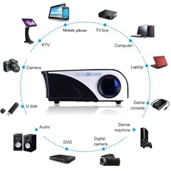 Led Mini Protable Wireless Sync Display Home Projector Support Android IOS 1080P HD Projection Black(rd-805w) 22*15*8.8cm