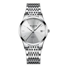WLISTH New Style Women Fashion Casual Wristwatch Calendar Waterproof Ladies Classic Quartz Watch Silver Normal