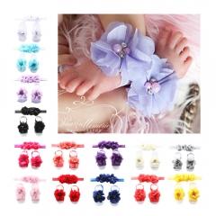 Felizamor Baby Child Hair Accessories Hairband Dance Headdress Flower Foot Flower Set beige per picture