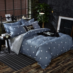 Pack Of 4/Set Polyester Duvet Cover Bedsheet Pillowcase Triangle Blue Pile Coating Bedding Comforter as picture 5*6