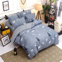 Pack Of 4/Set Polyester Duvet Cover Bedsheet Pillowcase Deer Pile Coating Bedding Comforter as picture 4*6