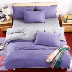 Pack Of 4/Set Polyester Duvet Cover Bedsheet Pillowcase Pile Coating Pure Purple Bedding Comforter as picture 4*6