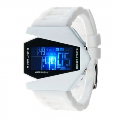 Cool Airplane LED Watch Flashlight Alarm Water Proof Boys And Girls Fashion Watch white 200-280mm