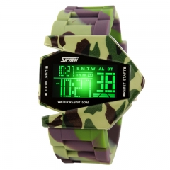 Cool Airplane LED Watch Flashlight Alarm Water Proof Boys And Girls Fashion Watch camouflage 200-280mm
