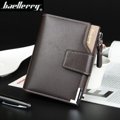 Baellery Men's Leather Short Vertical Wallet Casual Business Purse Men's Fashion Coffee onesize