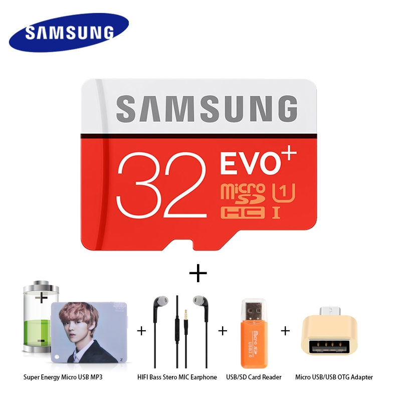 Pack Of 5 SAMSUNG 32 GB Memory Card /Energy MP3/HIFI Earphone/Card Reader/Micro USB OTG Adapter samsung class 10 32gb sd/tf memory card 1
