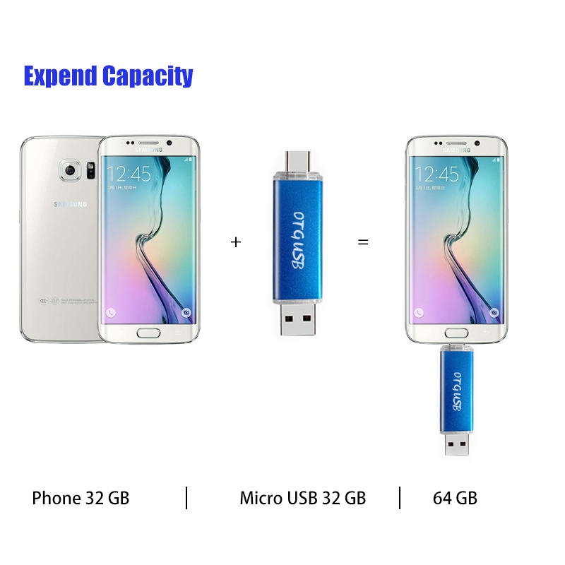 32GB 2 In 1 Micro USB OTG USB Flash Card High Speed Pen Drive Phone Expend Memory Card gold micro usb otg 32gb expend flash 4