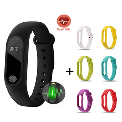 Pack Of 2 Fitness Tracker With DIY Color Strap HR Monitor Blood Pressure Pedometer Smart Watch black+red onesize