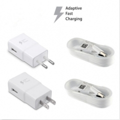 Samsung Galaxy S7 S6 Note 4 5 Fast Charging Dual USB Car&Wall Charger+Cable white 13.5*7*2.5