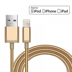 mfi Metal USB Charger Cable For iPhone 7 Plus 6s 6 6Plus Mobile Phone Charge gold