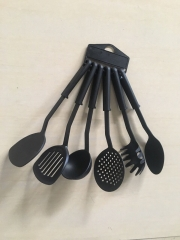 6 pcs cooking spoons black varying sizes