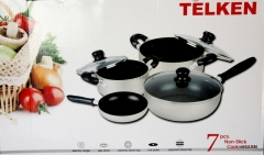 Telken 7 Piece Non Stick Cookware Kitchen Set Dark Diff Size for Each