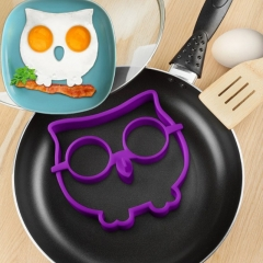 Owl pancake & eggs silicone mould shaper purple one size