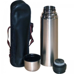 Stainless Steel Thermos Vacuum Flask Plus FREE Pouch Bag silver one size 500ml