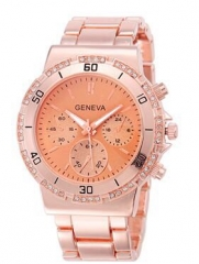 Geneva Rose Gold Plated Classic Watch Plus Free gift box gold