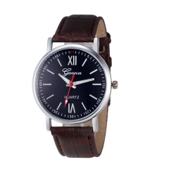 Quartz Casual Leather Watch - Plus Free Gift box BROWN ONE SIZE