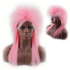 Girl Synthetic Natural Long Straight Wigs Smart Hair Styles For Young Women Cosplay Wigs pink 20inch