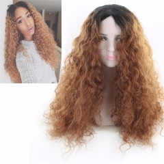 Women Girls Long Curly Hair Heat Resistant Fiber Cosplay Costume Party Anime Wigs brown 28inch