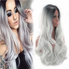 Ombre Long Wigs Wave Cosplay Wigs Synthetic Hair Heat Resistant Synthetic Hair gray 28inch