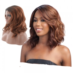 Short Wavy Bob Wig Synthetic Fiber Wigs Black to Brown Curly Wigs For Women Daily Party Wigs brown 13.5inch