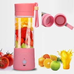Personal Portable Blender Juicer Cup / Electric Fruit Mixer / USB Juice Blender, Rechargeable 380mL pink