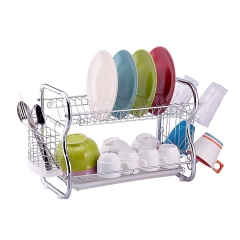 Toplife 2 Tier Chrome Kitchen Dish Drainer Drying Rack silver normal