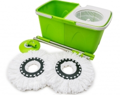 Microfiber Spining Magic Spin Mop W/Bucket 2 Heads Rotating 360 degree Green Normal