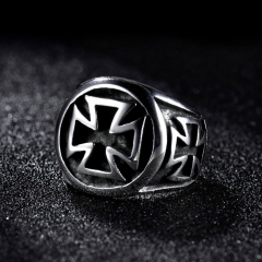 Mens Biker Jewelry Silver Stainless Steel Gothic Punk Cross Finger Band Rings