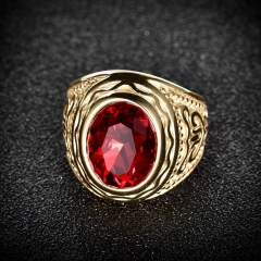 Stainless Steel Solitaire Large Oval Red Garnet Ruby Men's Wedding Rings Band