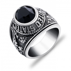Vintage Mens Silver Stainless Steel Black Onyx United States Wedding Band Rings