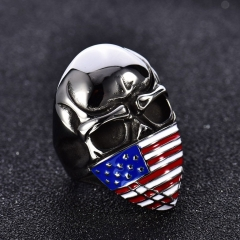 Men's Stainless Steel American Flag Punk Mask Motorcycle US Biker Rings Jewerly