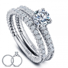 Promise Women Engagement 925 Sterling Silver Sapphire Crystal Wedding Rings Set