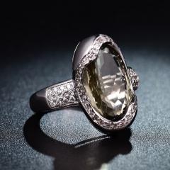 Brilliant Women Green Peridot&Sapphire Crystal Charms Retro Statement Rings 6-10