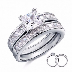 Women 925 Sterling Silver Princess Sapphire Crystal Promise Wedding Rings Set as shown us size 5