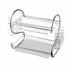 Stainless Steel 2 Tier Dish Drainer Drying Rack Silver Large