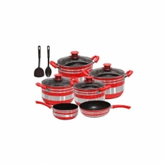 Non Stick Cooking Pots - 12 Pieces Red 12 piece
