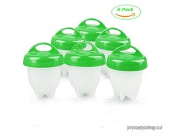 6Pcs/Set Silicone Egglettes Egg Cooker Hard Boiled Eggs Without The Shell green/red onesize