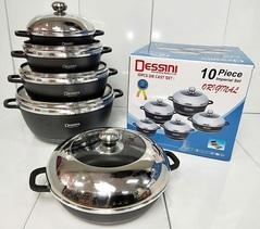 Original Dessini Non-Stick Cooking Pots Cookware set - 10pcs Set Black/grey 5 Sizes