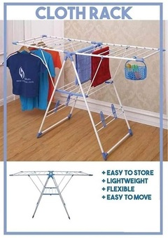 Outdoor Foldable clothes drying rack Cloth rack- Blue White Large
