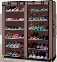 Portable Shoe Rack 36 Pairs brown