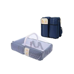Multifunctional Baby Travel Bed Cot Baby Bassinet and Diaper Bag-blue blue Large