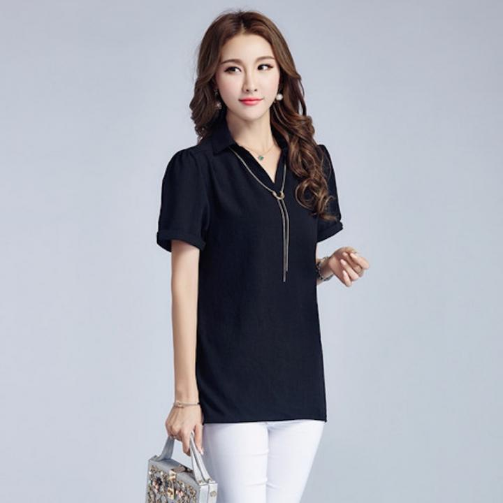f968214b96d526 Kilimall  Summer Elegant Simple Style Chiffon Plus Size Women T ...